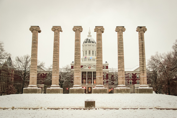 Jesse Hall and the columns in the winter
